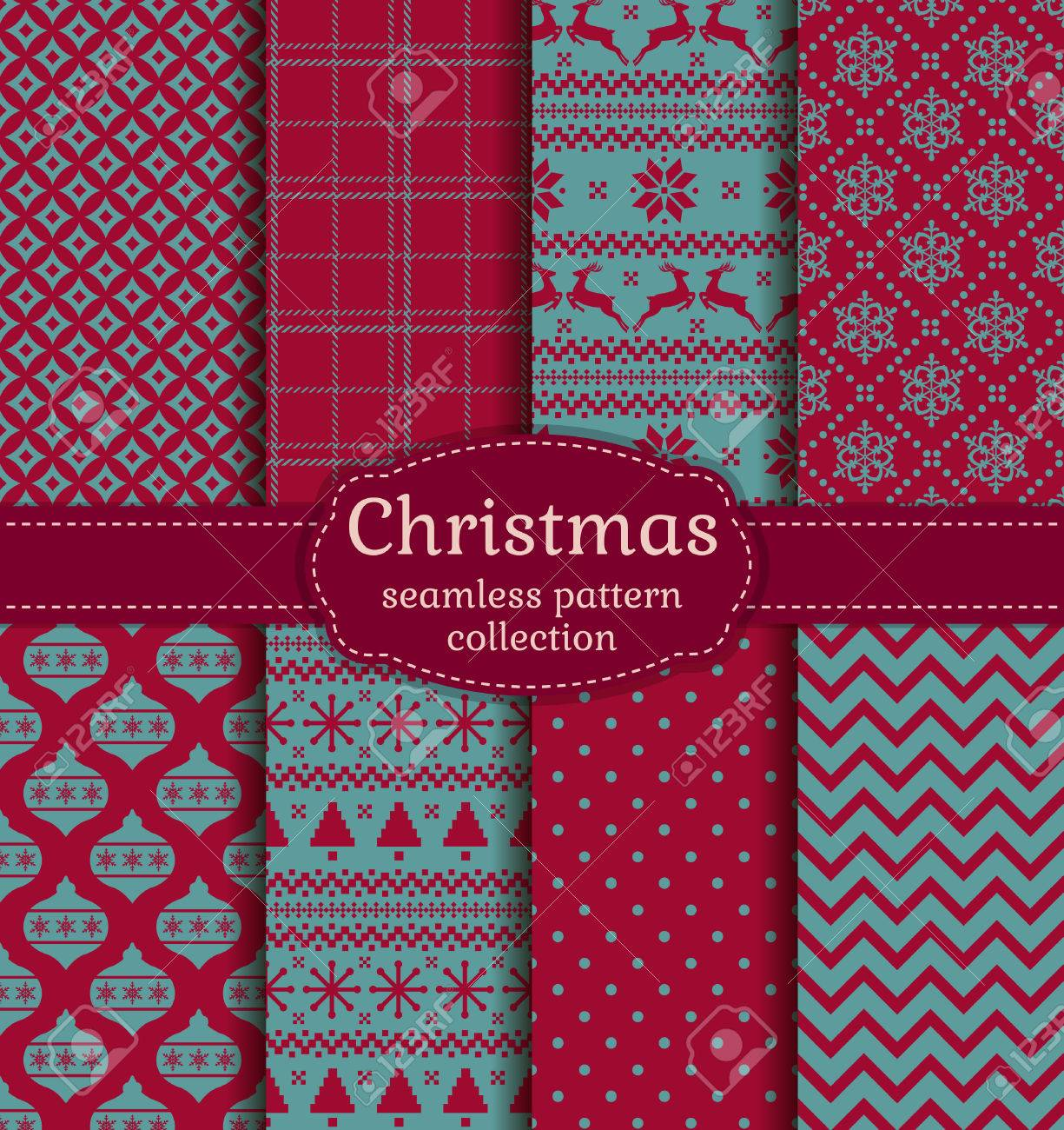 Merry Christmas and Happy New Year! Set of winter seamless backgrounds with traditional holiday symbols: christmas tree, tree ball, deer, snowflakes and suitable abstract patterns. Vector collection. - 49542009