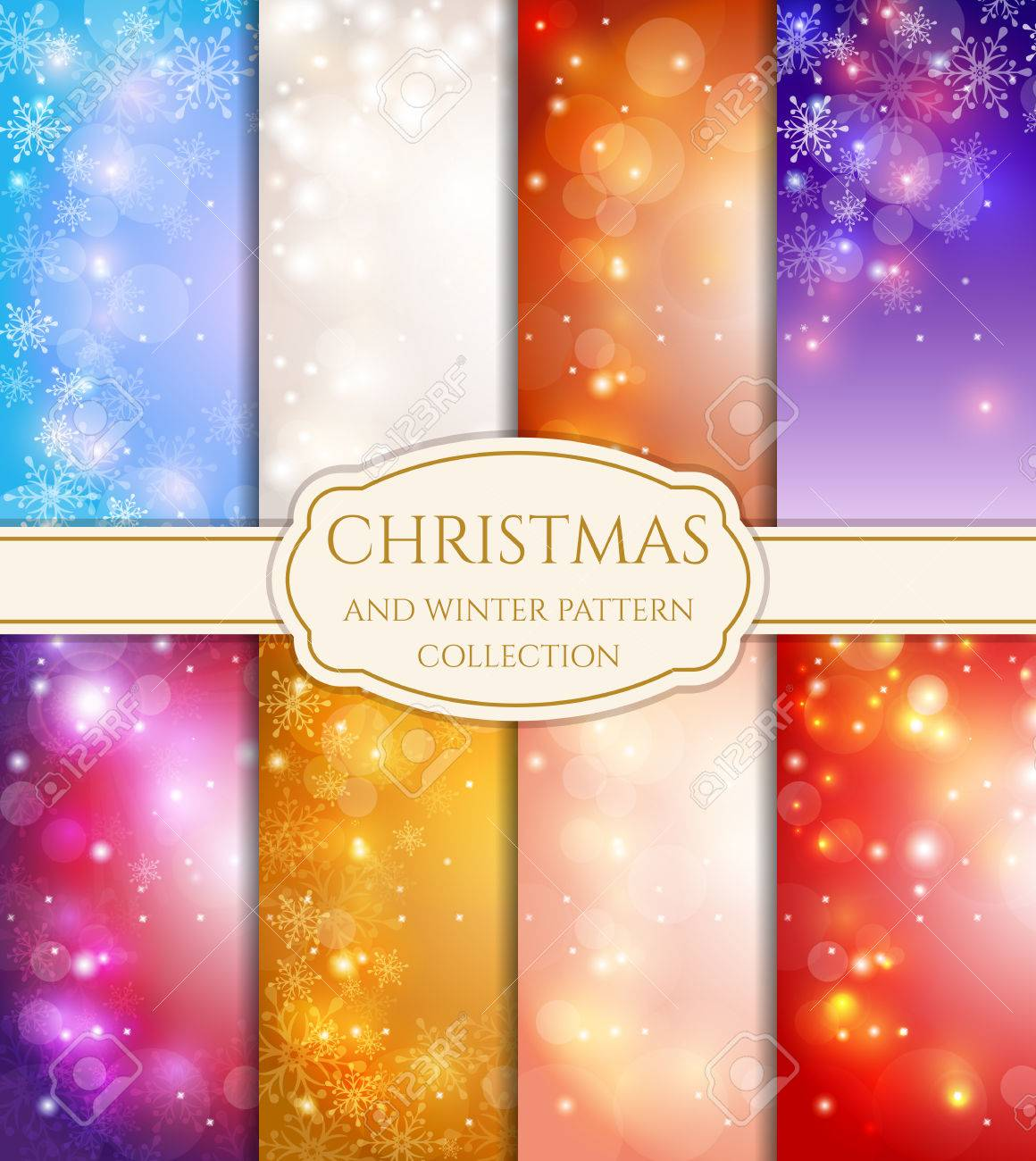 Merry Christmas and Happy New Year! Set of winter and holidays backgrounds with snowflakes, bokeh and space for text. Festive cards of different colors. Vector collection. - 49542010