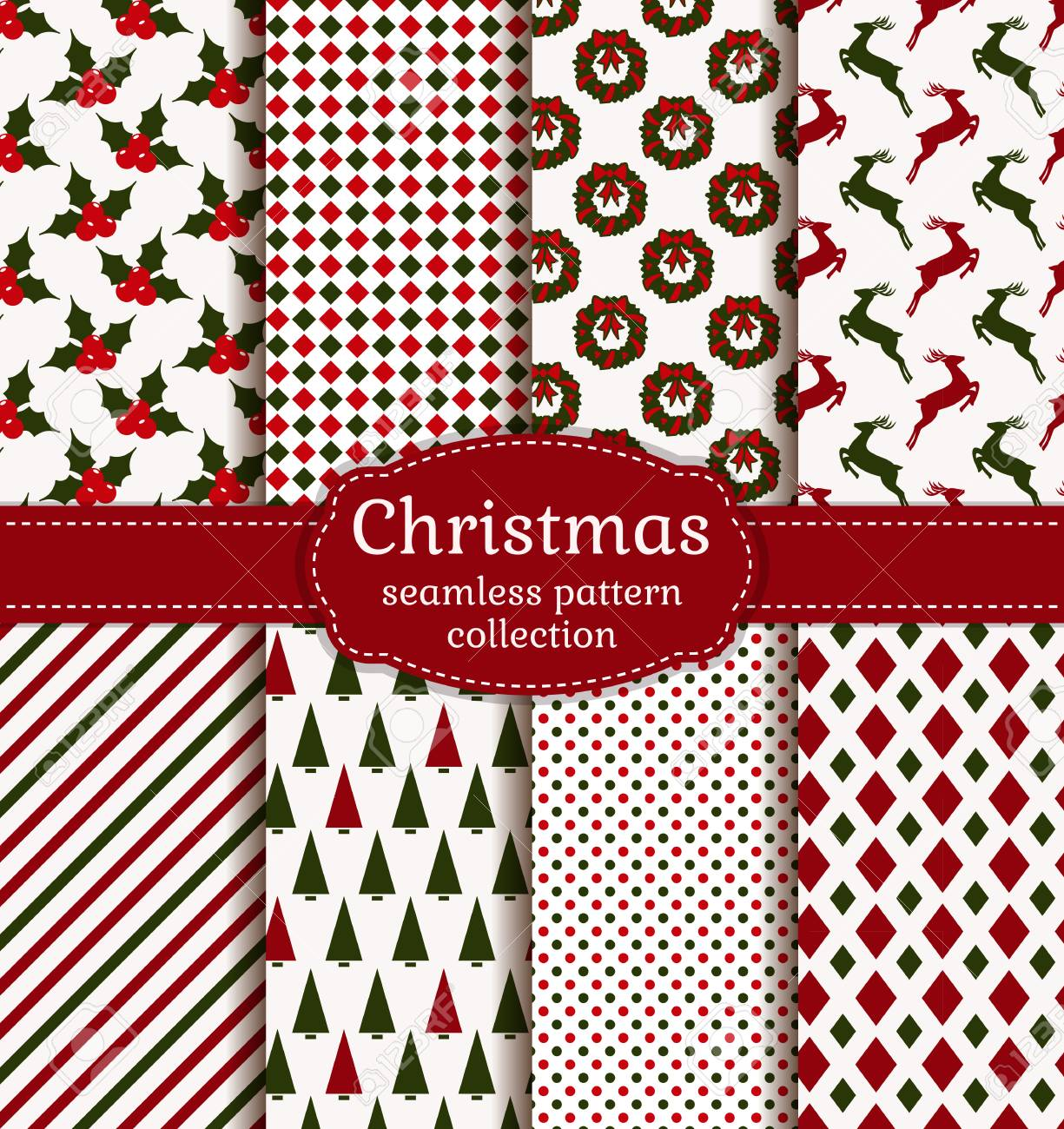 Merry Christmas and Happy New Year! Set of holiday backgrounds. Collection of seamless patterns with white, red and green colors. Vector illustration. - 49542016