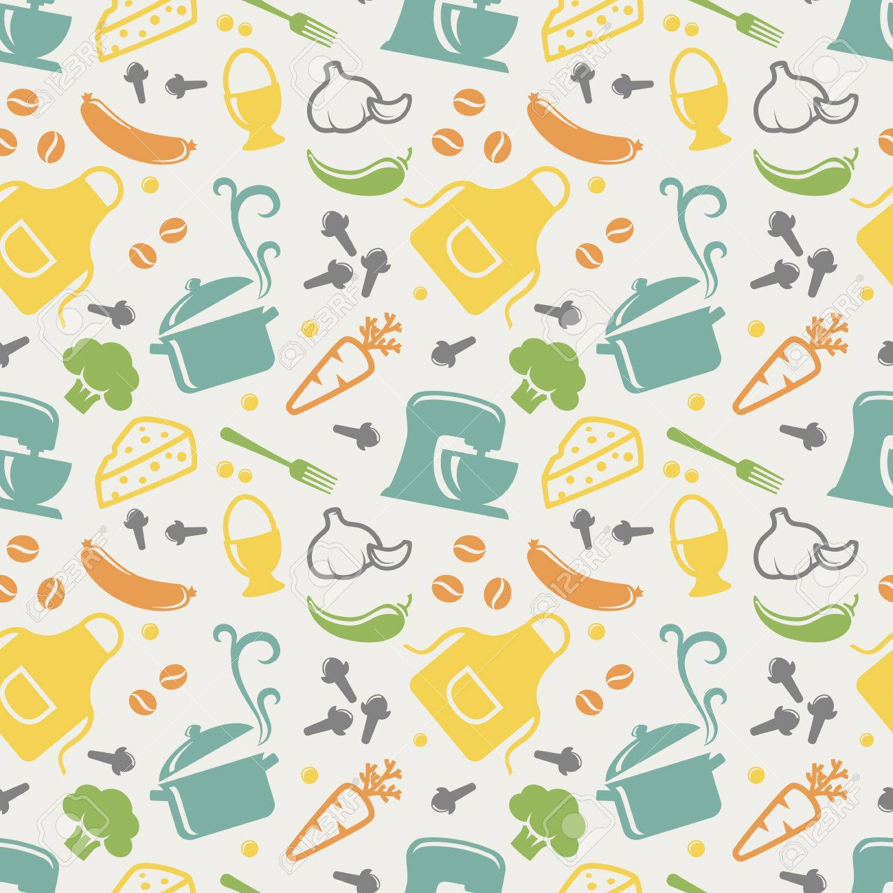 Food and kitchen seamless pattern in blue, yellow, orange, green, purple and grey pastel colors. Retro background with cute icons for culinary theme. Vector illustration. - 49905345