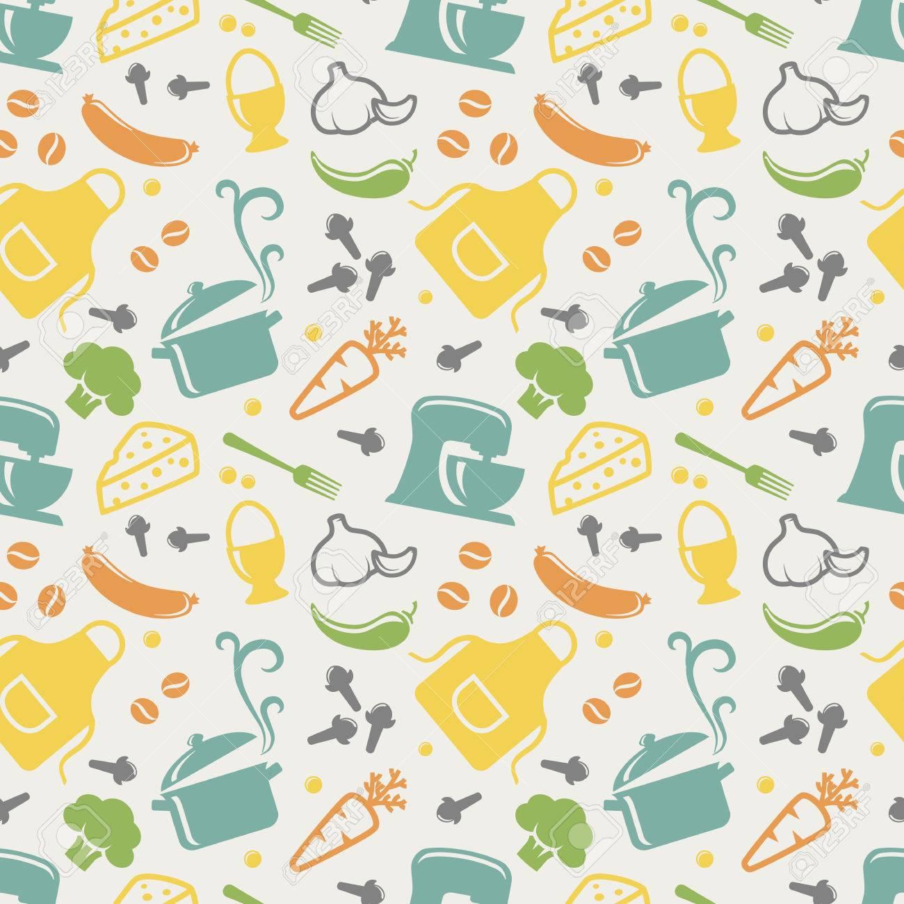 Essen Und Kuche Nahtlose Muster In Blau Gelb Orange Grun Lila