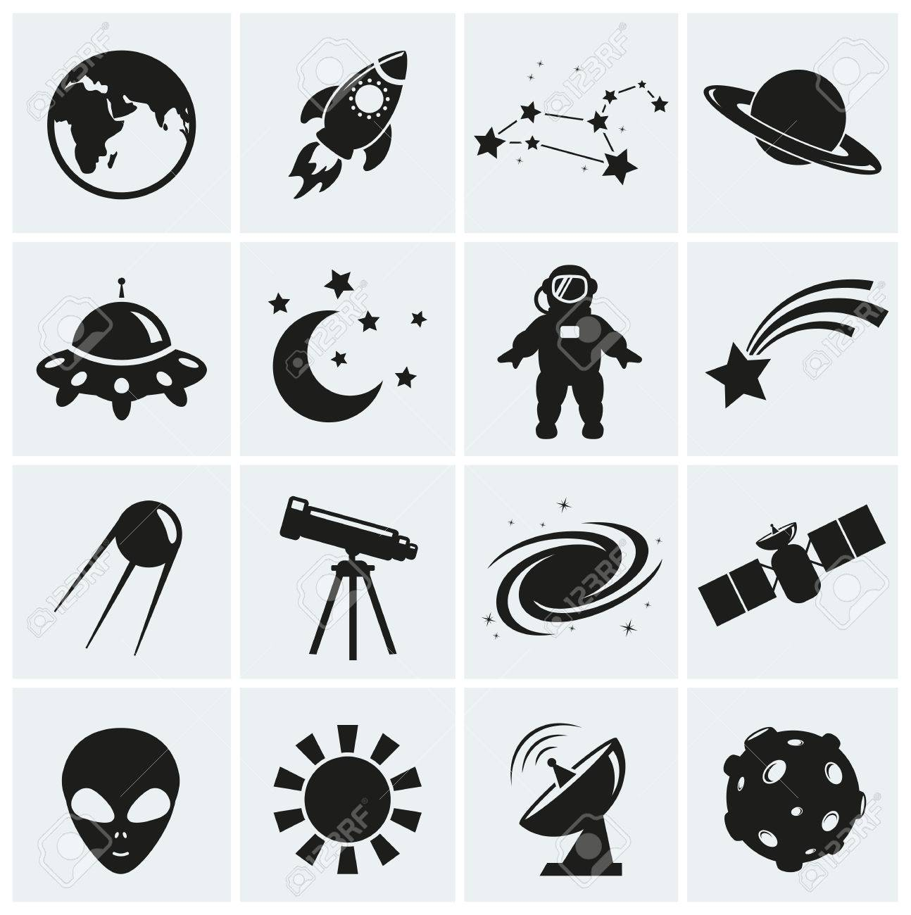 Collection of 16 space and astronomy icons. Vector illustration. - 49905370
