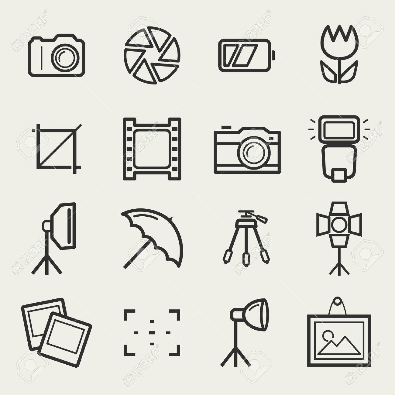 Photo icons. Set of 16 symbols for a photographic theme. Vector collection of outline elements isolated on white background. - 49905443