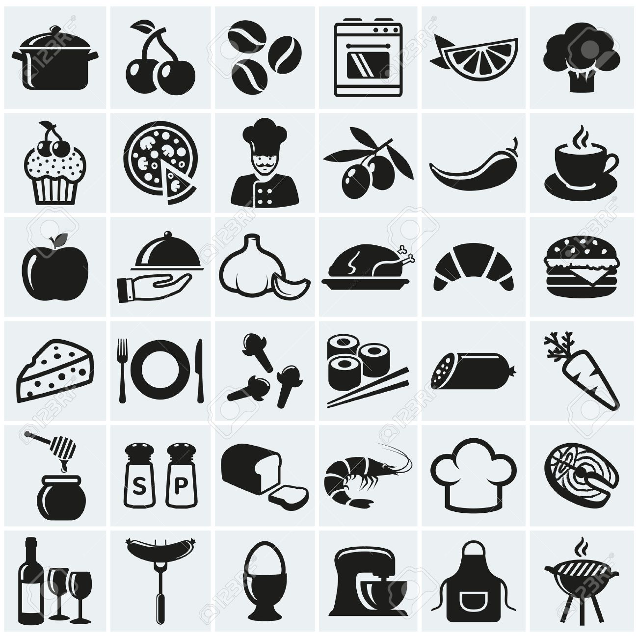 Food and cooking web icons. Set of black symbols for a culinary theme. Healthy and junk food, fruit and vegetables, spices, cooking utensils and more. Vector collection of silhouette design elements. - 49905449
