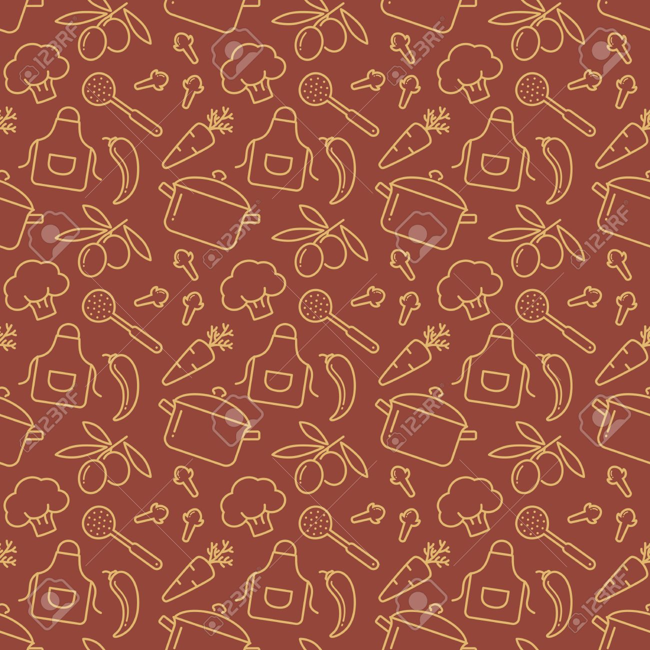Food and kitchen seamless pattern. Brown background with line icons for culinary theme. Vector illustration. - 49905840