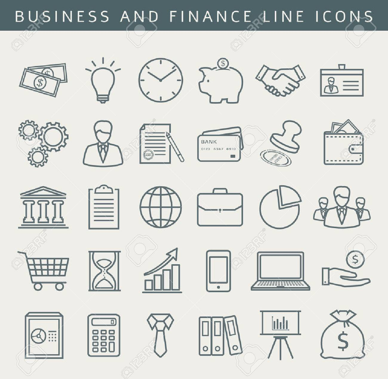 Business, finance, office, shopping and marketing icons. Set of 30 concept symbols. Collection of outline elements for your design. Vector illustration. - 49905842