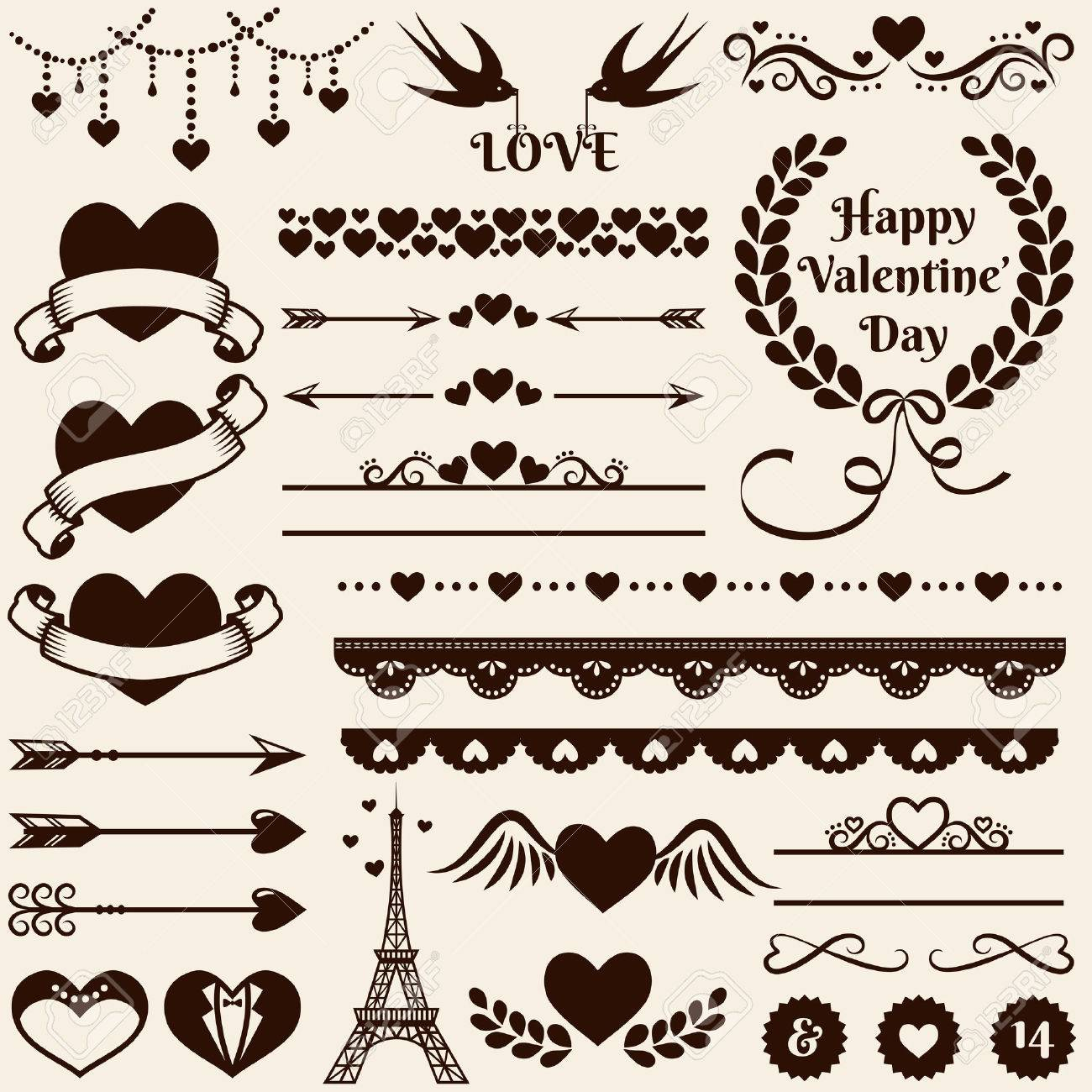 Love, romance and wedding decorations set. Collection of elements for valentine's greeting cards, wedding invitations, page and website decor or any other romantic design. Vector illustration. - 49905863