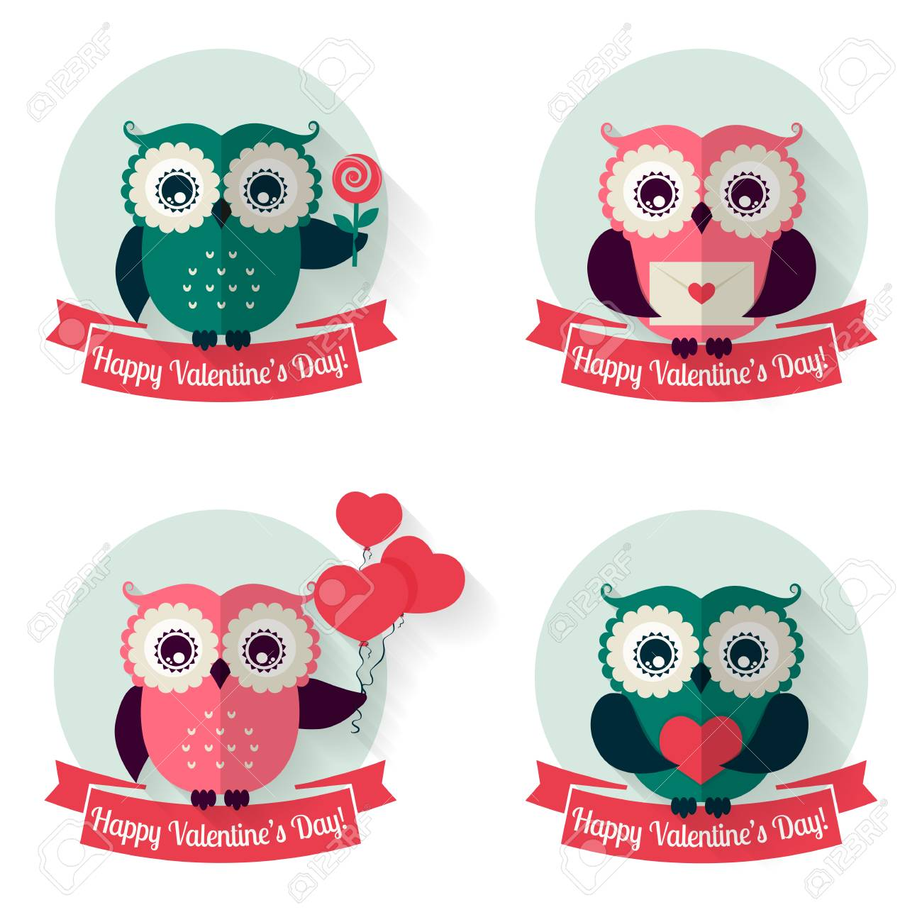 happy valentine's day! set of labels with cute owls and ribbons