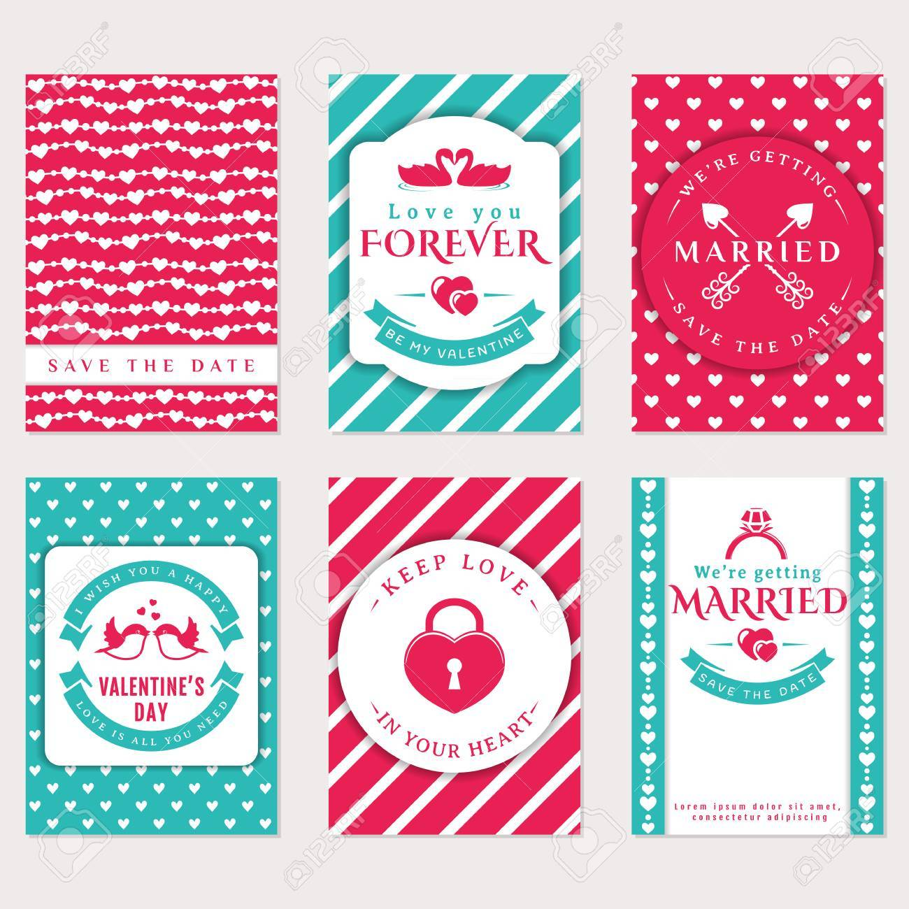 Collection of cute vector banners romantic flyers valentines collection of cute vector banners romantic flyers valentines day greeting card wedding invitations m4hsunfo