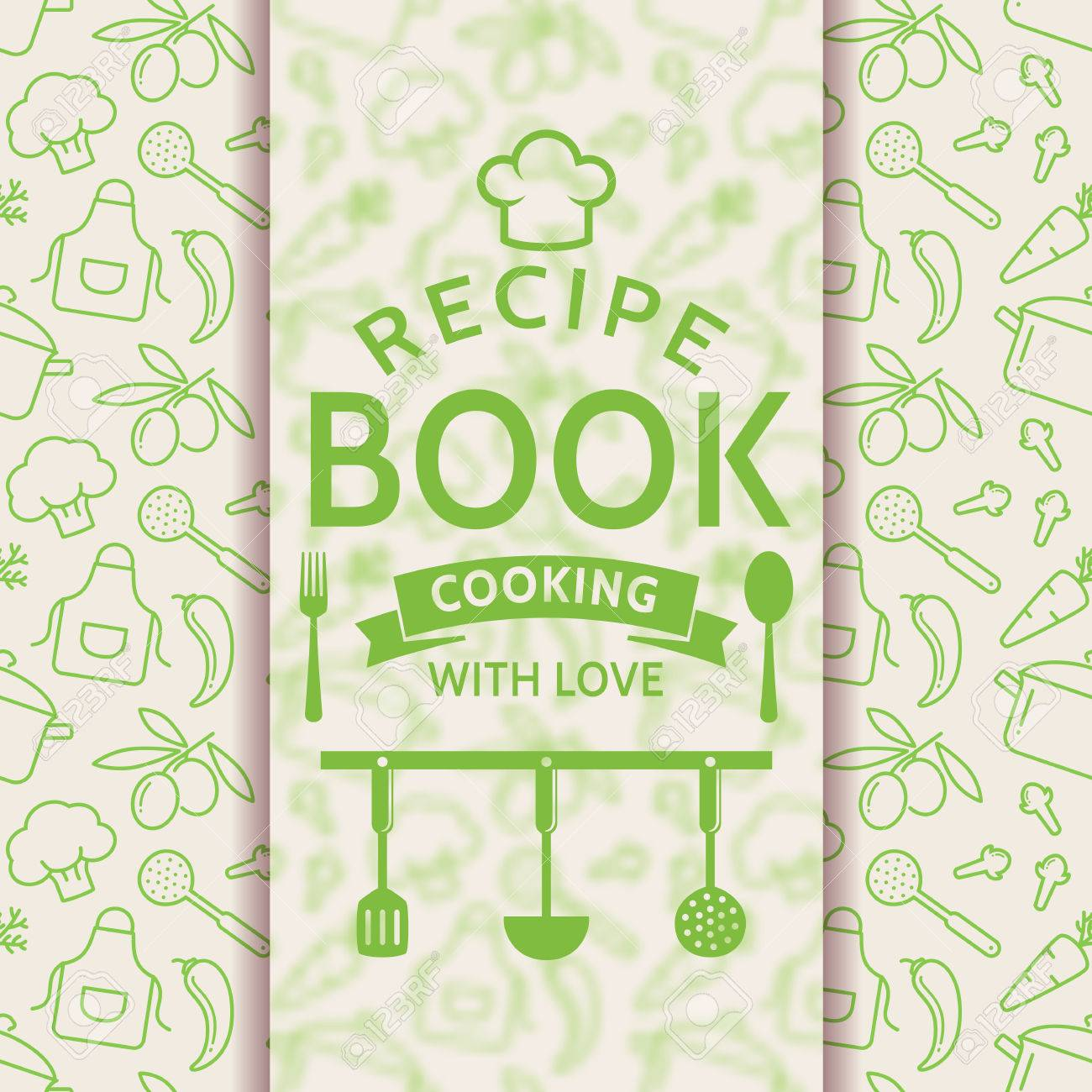 Recipe Book Cooking With Love Card Outline Culinary Symbols And Typographic Badge