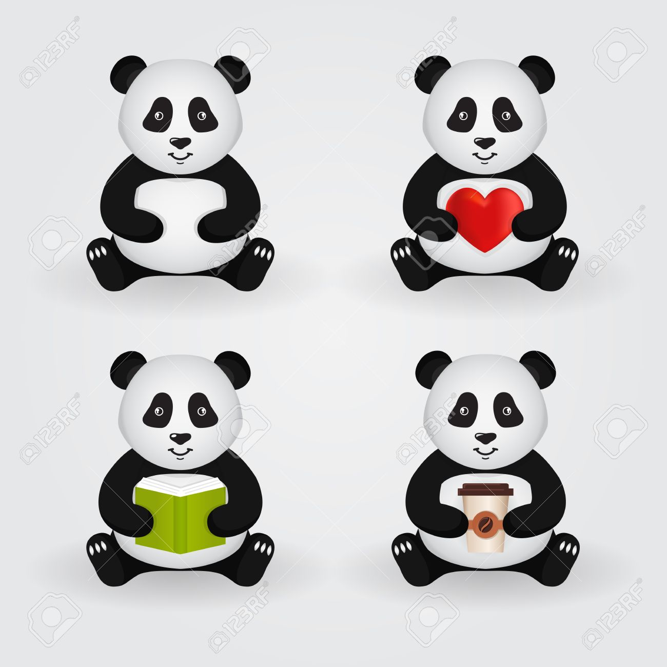 Cute cartoon pandas isolated on light background. Set of pandas holding a different things: heart, book, cup of coffee. Vector illustration. - 51229345