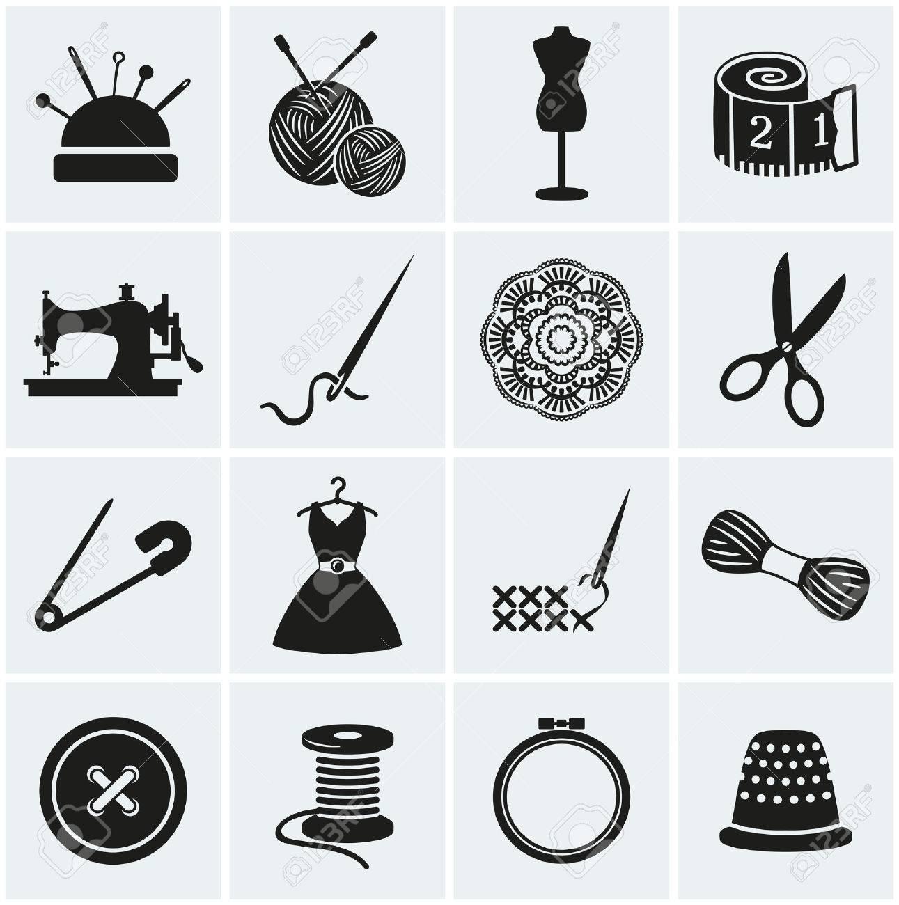 Set Nähen Und Handarbeiten Symbole. Sammlung Von Design-Elementen ...