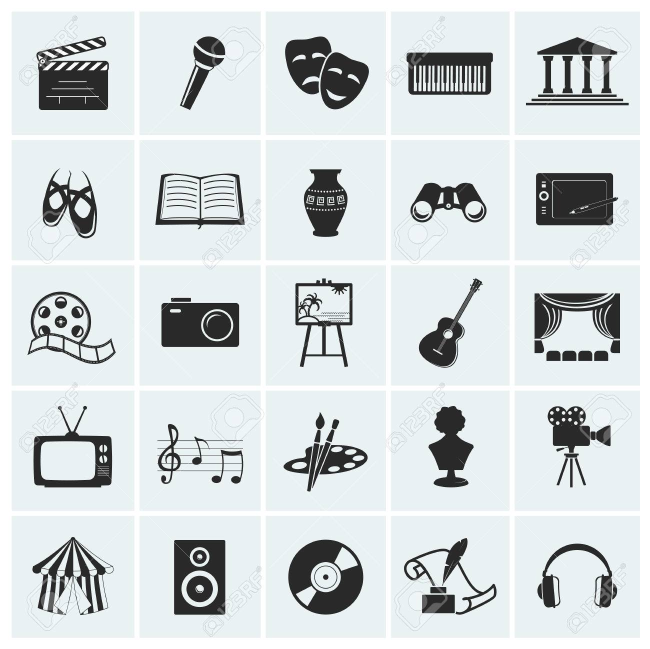 Collection of 25 arts and creative icons. Vector illustration. - 51231453