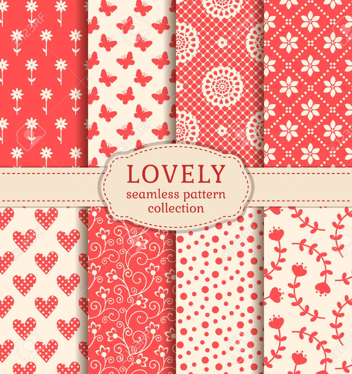 Set of cute patterns. Collection of seamless backgrounds in white and pink colors. Vector illustration. - 51619456