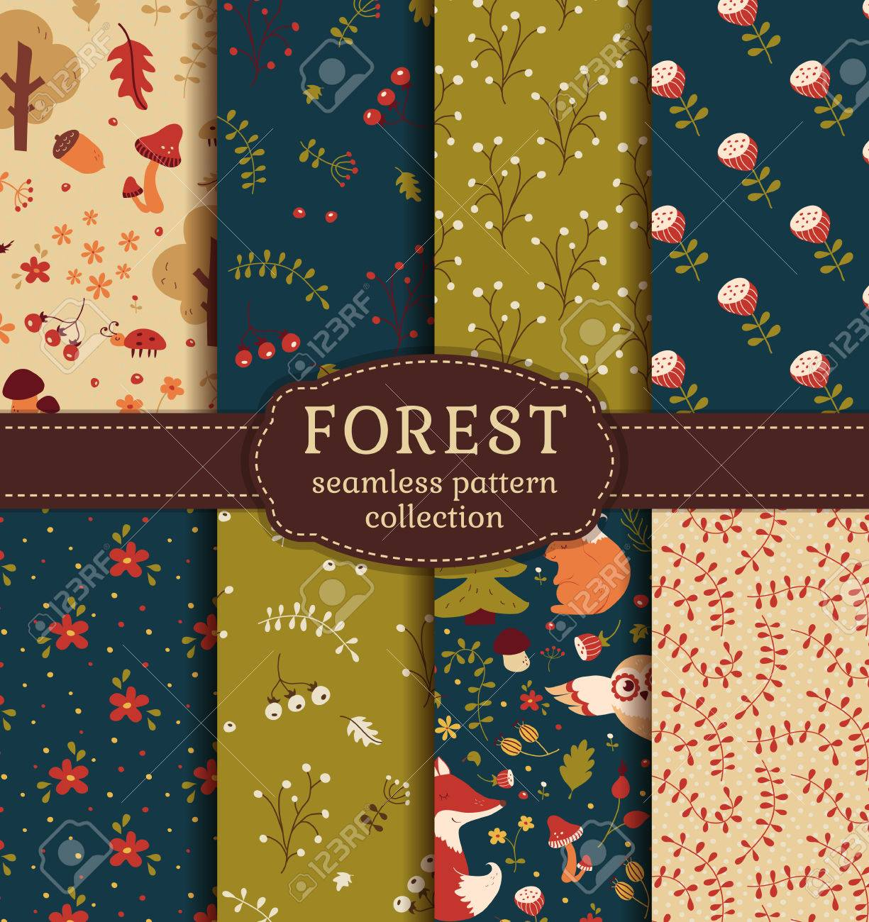 Forest seamless patterns with hand drawn animals, flowers and plants. Set of cute nature textiles in blue, green, red and beige colors. Vector collection for baby design. - 51696049