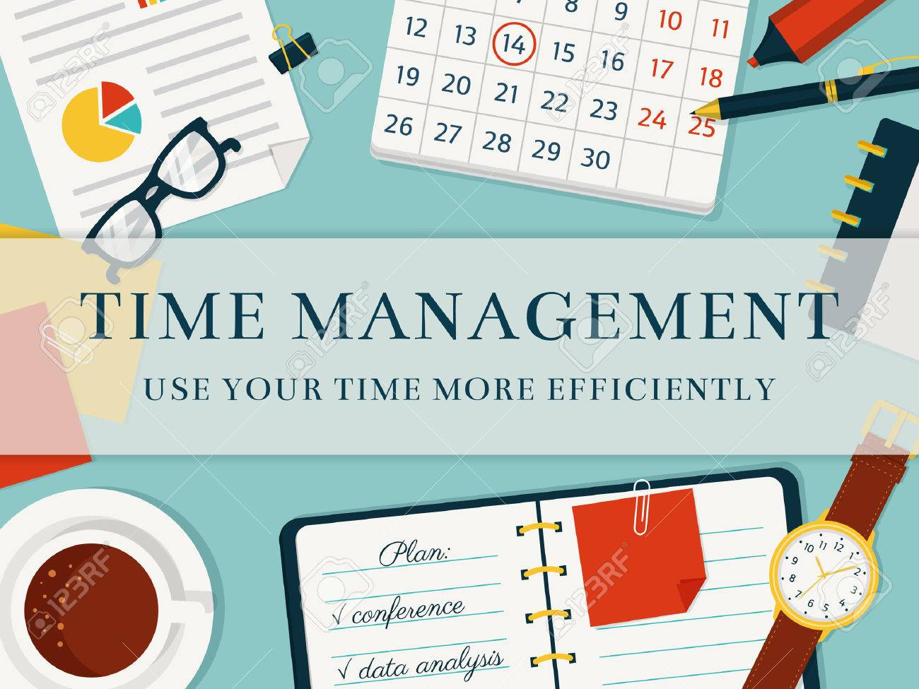 Time Management Banner Efficient Use Of Time For Implementation Royalty Free Cliparts Vectors And Stock Illustration Image 51911957