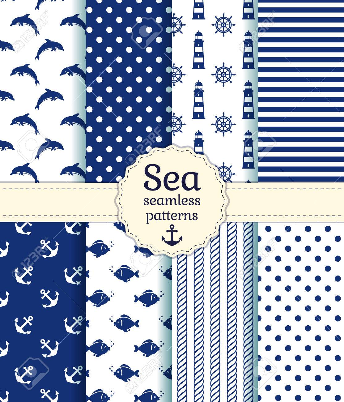 Set of sea and nautical seamless patterns in white and dark blue colors. Vector illustration. - 51878258