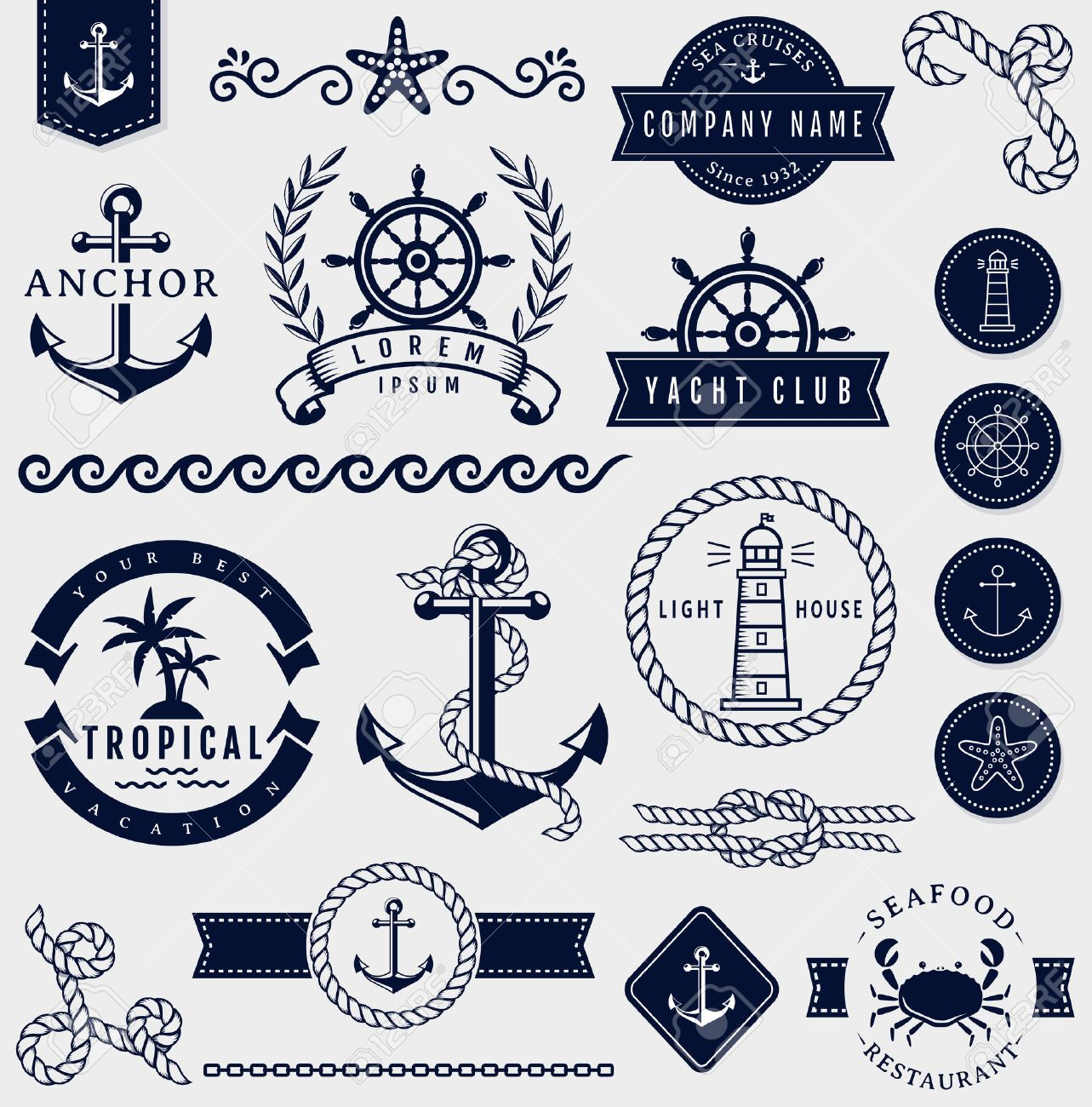 Set of sea and nautical decorations isolated on white background. Collection of elements for company logos, business identity, print products, page and web decor or other design. Vector illustration. - 51878259