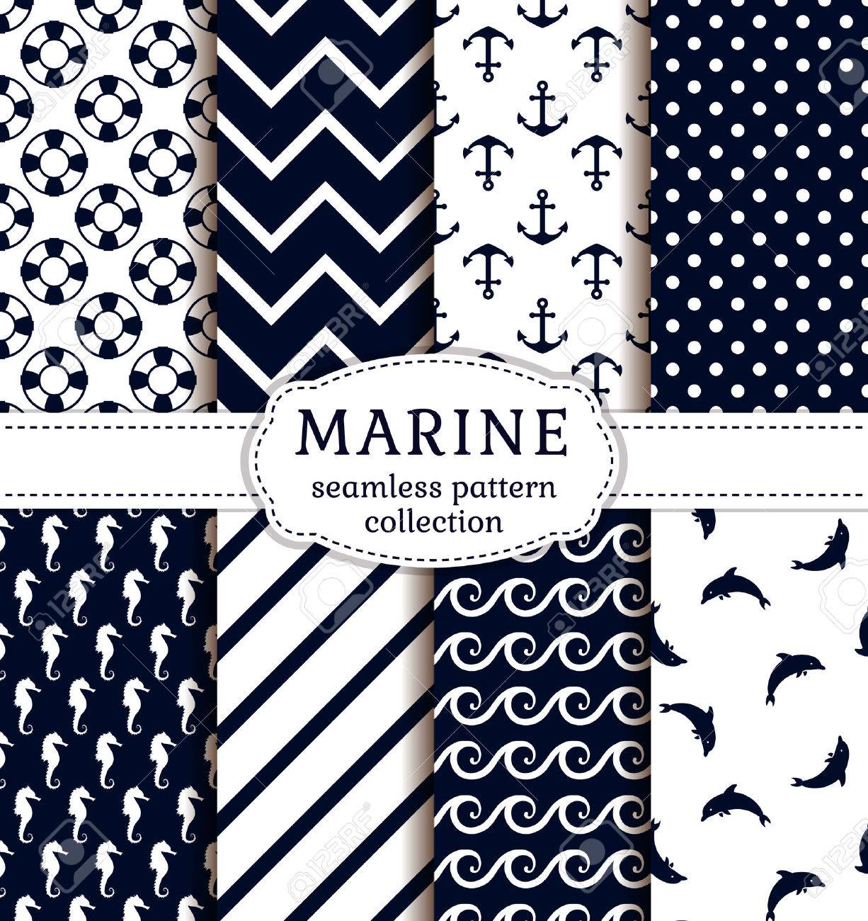 Sea and nautical backgrounds in white and dark blue colors. Sea theme. Seamless patterns collection. Vector set. - 51878265