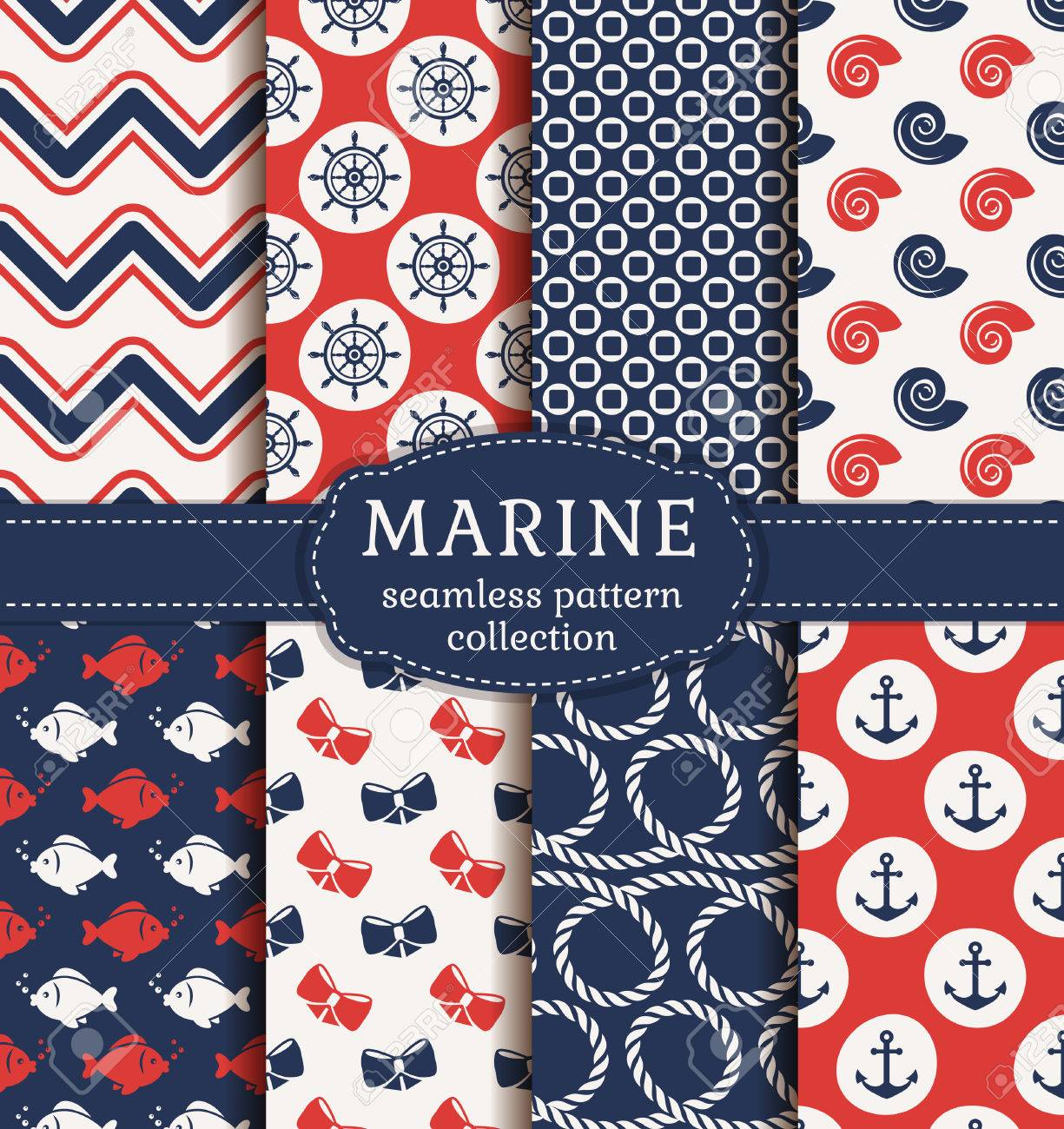 Set of marine and nautical backgrounds. Sea theme. Seamless patterns collection. Vector illustration. - 51878160
