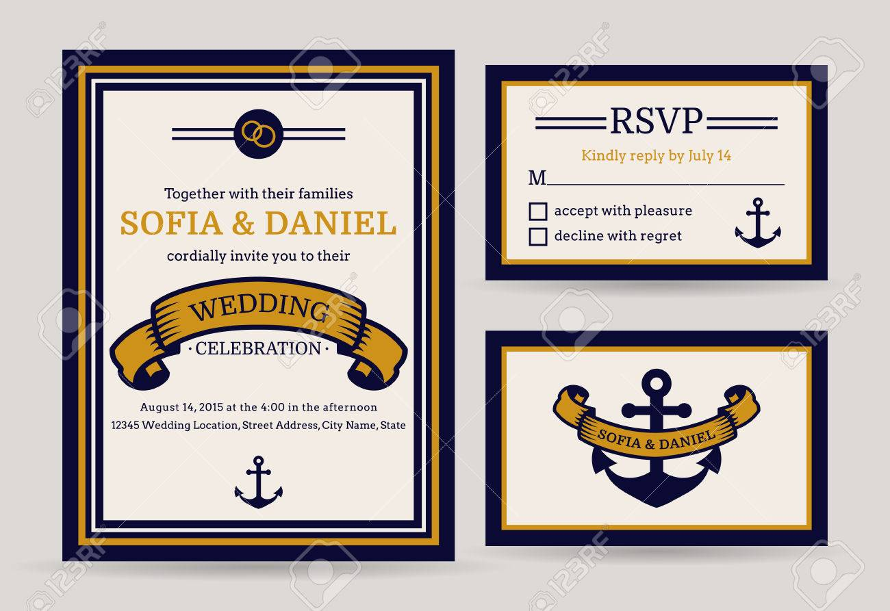 Nautical Wedding Invitation Cards. Sea Theme. Set Of Vector ...