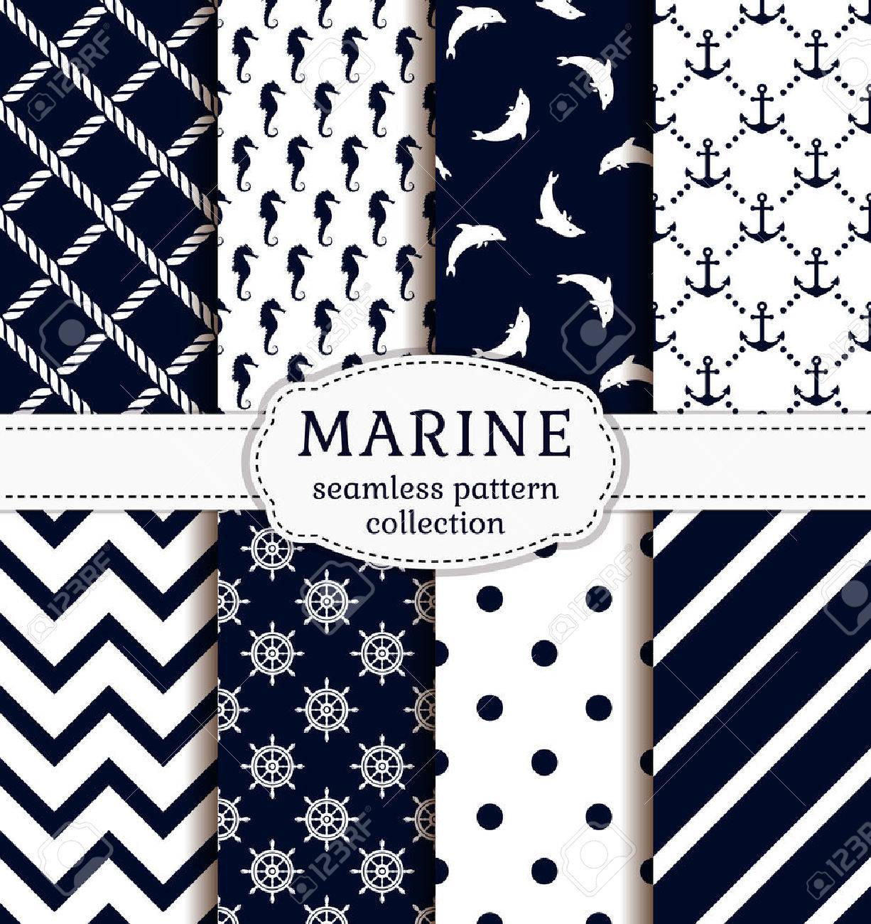 Sea and nautical backgrounds in white and dark blue colors. Sea theme. Seamless patterns collection. Vector set. - 51878135