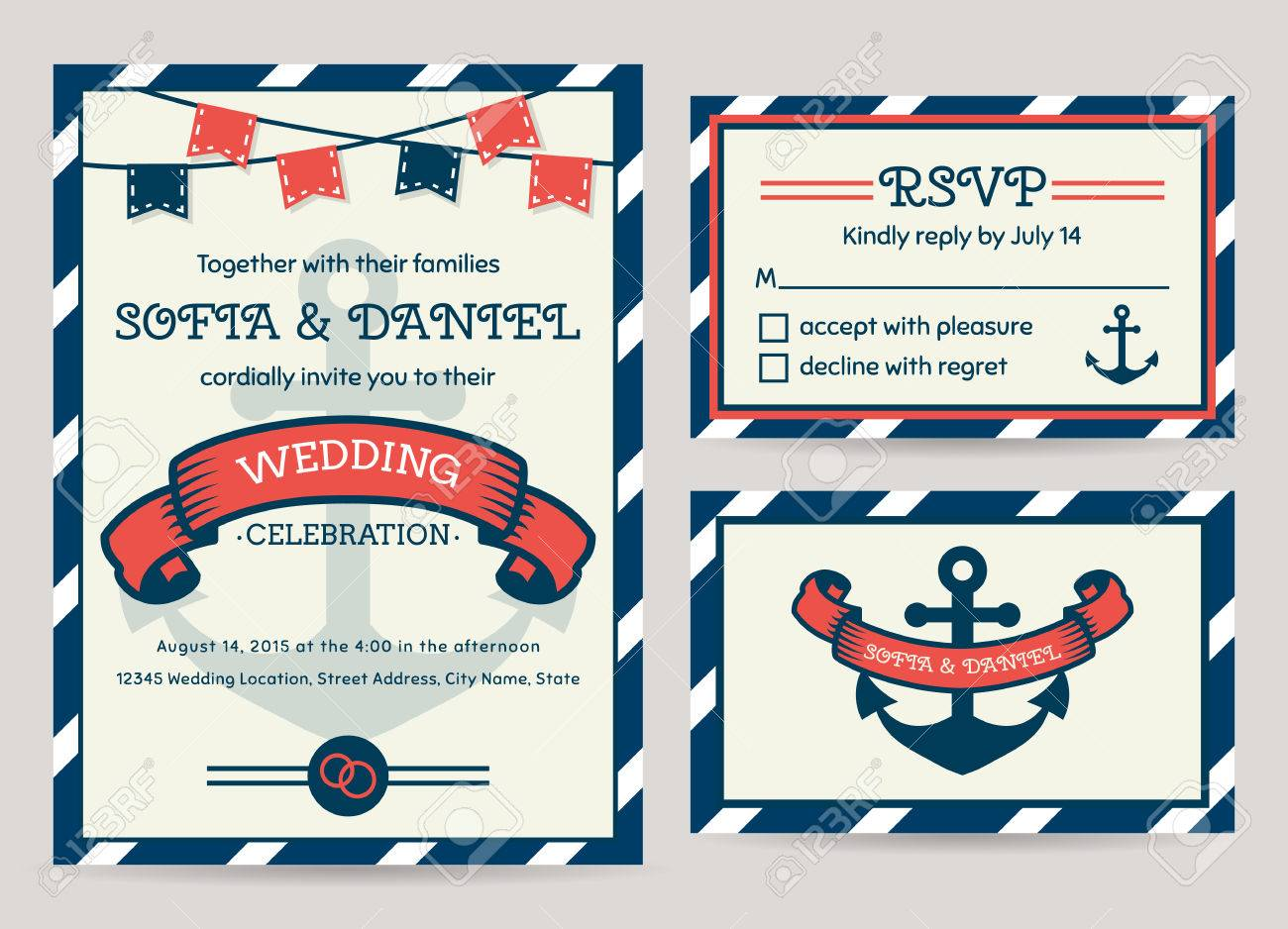 Nautical Wedding Invitation Template Image collections - Template ...