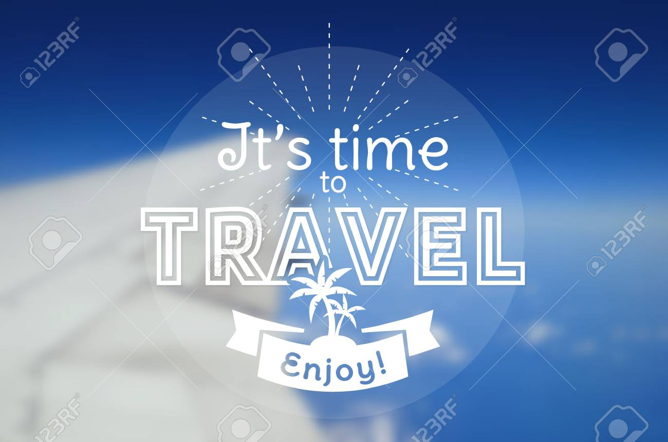 It's time to travel! Vector card with typographic badge. Blurred background with an airplane wing. Vector poster. - 51878073