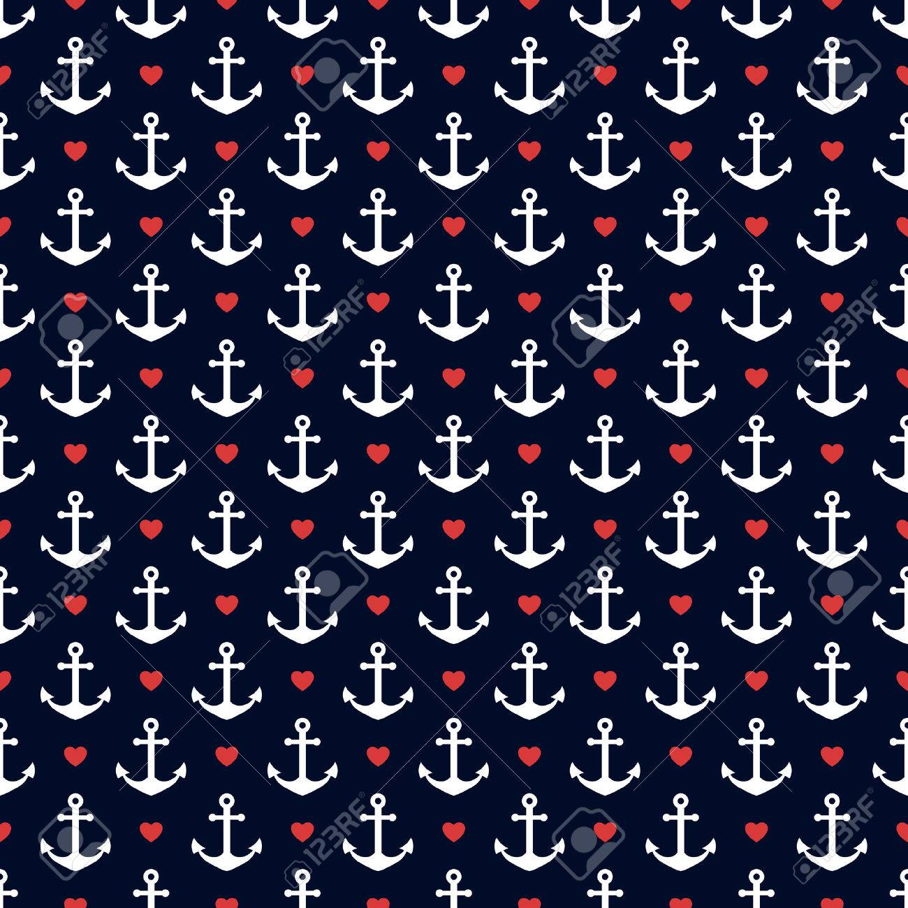 Seamless pattern with anchors and hearts. Nautical theme. Vector background. - 53553930