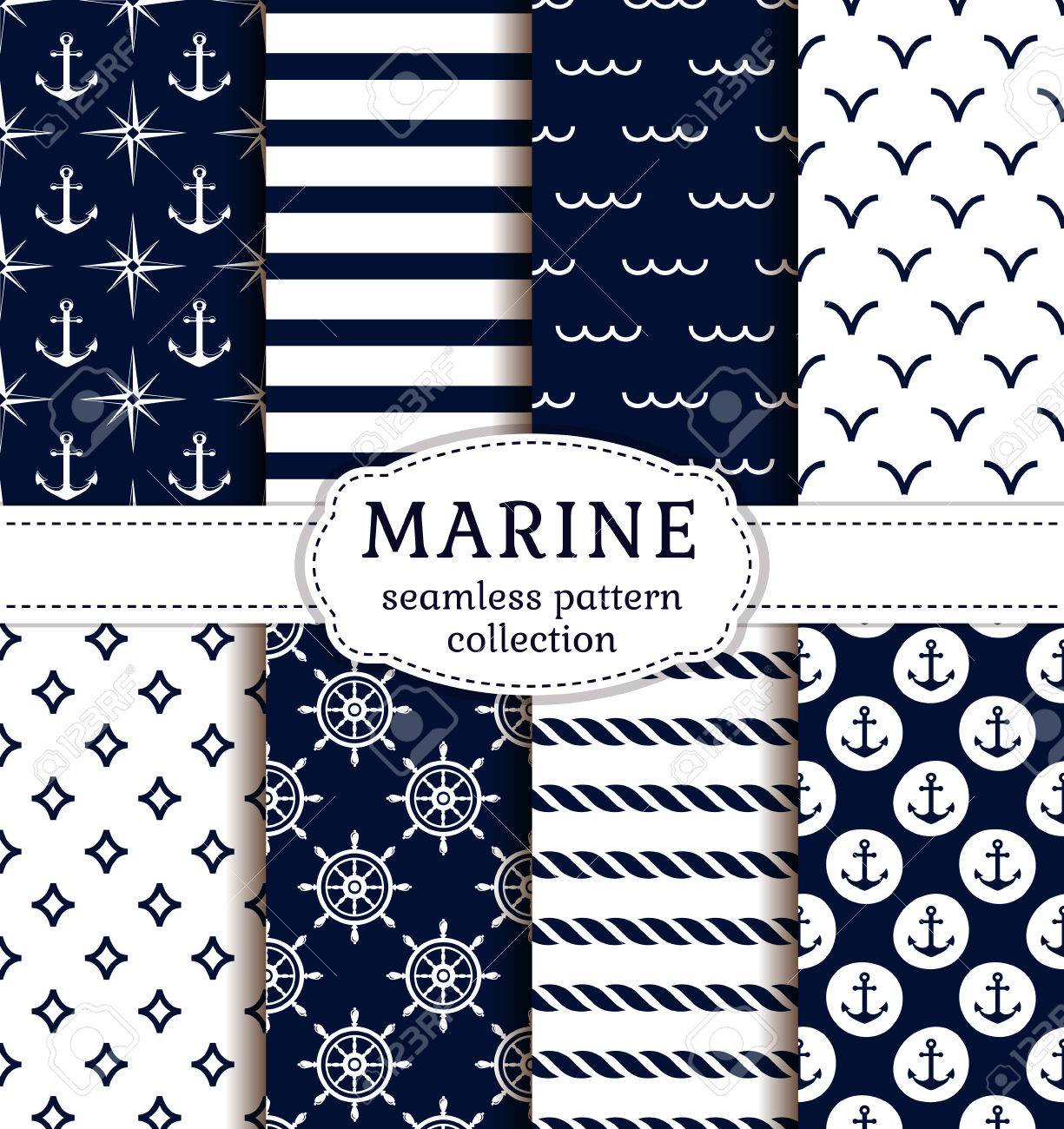 Set of sea and nautical backgrounds in dark blue and white colors. Sea theme. Seamless patterns collection. Vector illustration. - 53553951