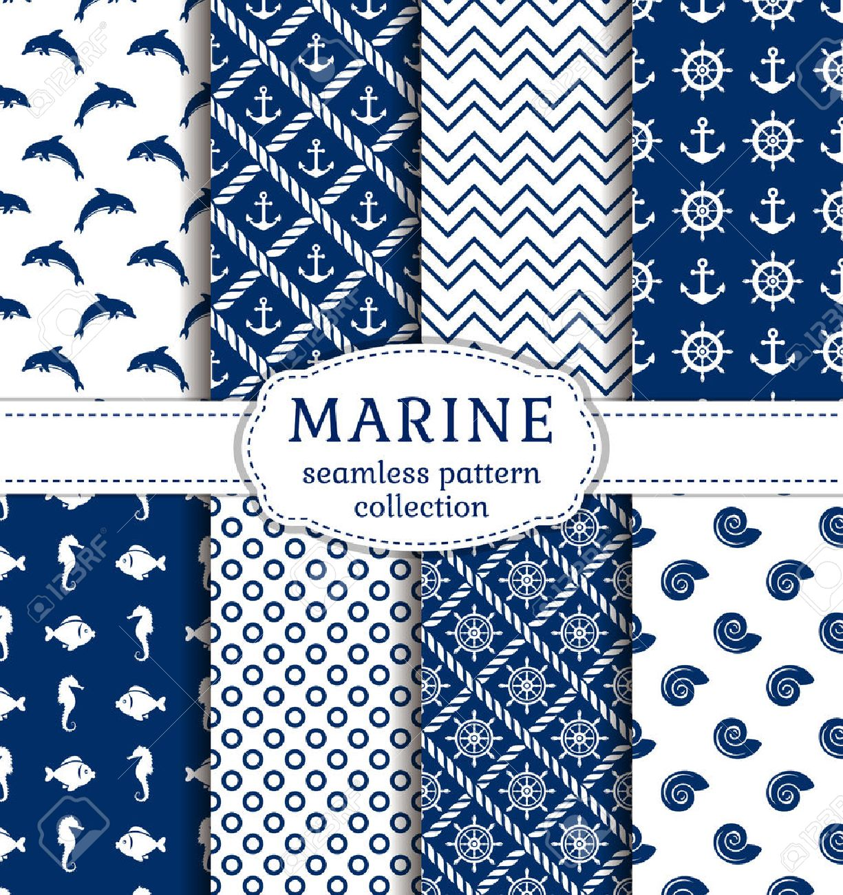 Set of sea and nautical backgrounds in navy blue and white colors. Sea theme. Seamless patterns collection. Vector illustration. - 53553952