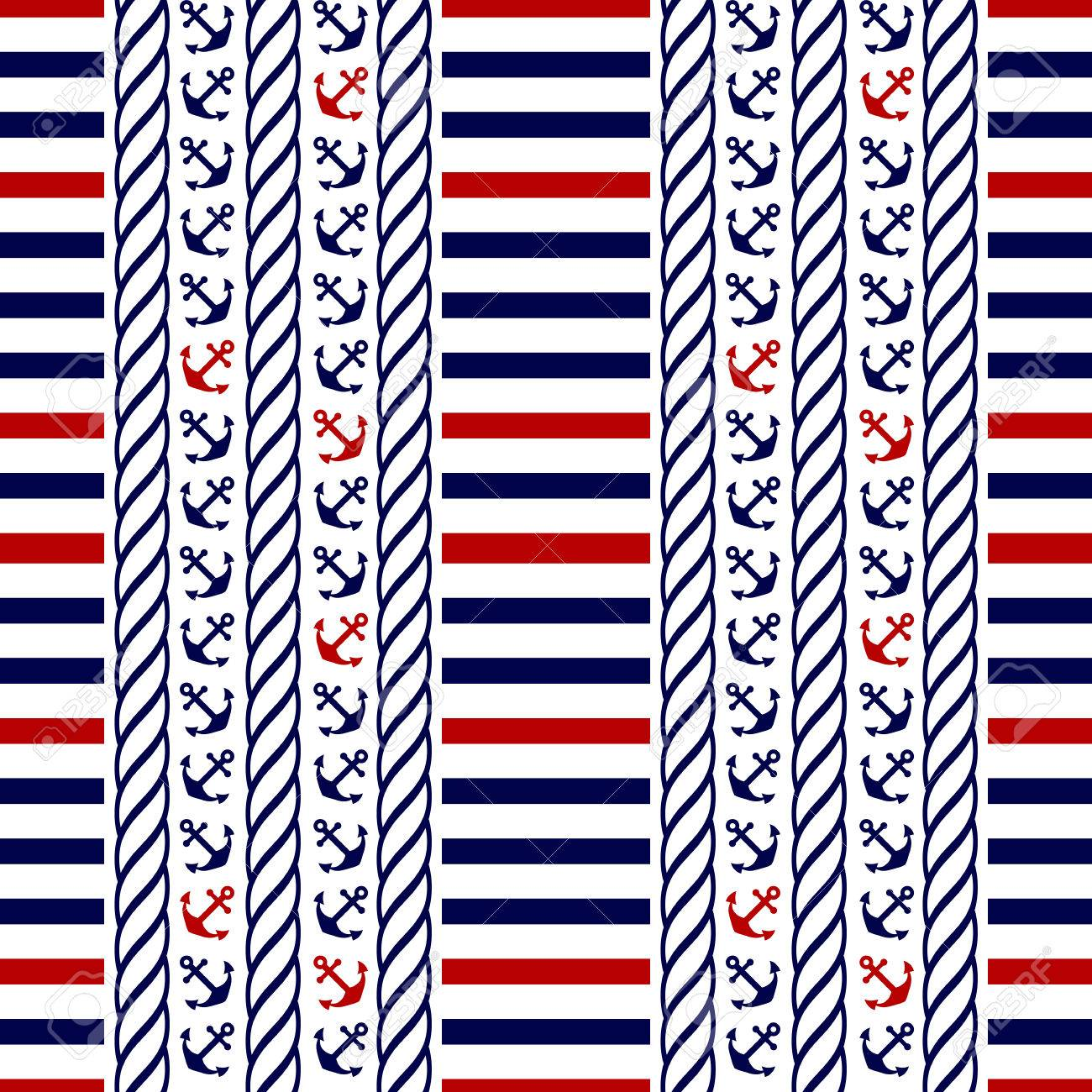 Nautical seamless pattern with stripes and anchors. Vector illustration. - 53553956