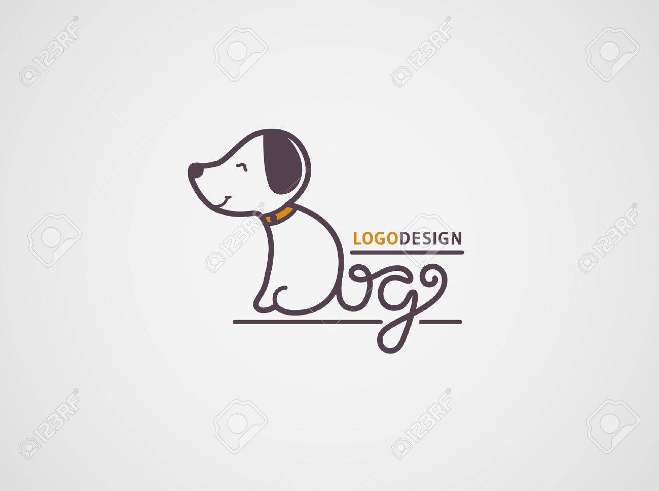 Dog logo template. Happy puppy logotype isolated on white background. The body and tail are made from hand drawn letters Dog. Vector concept design. - 53554070