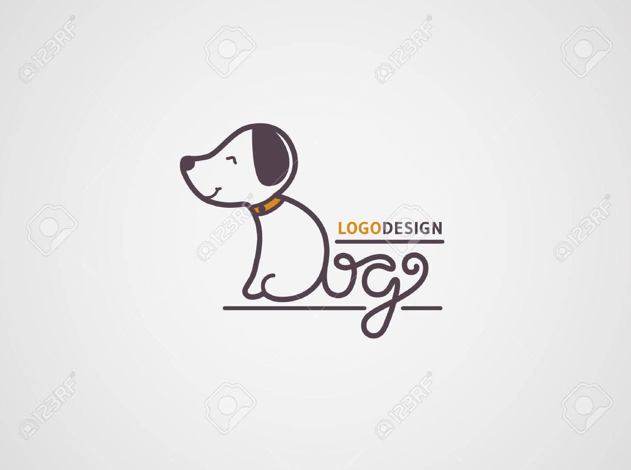 Dog Logo Template Happy Puppy Logotype Isolated On White Background