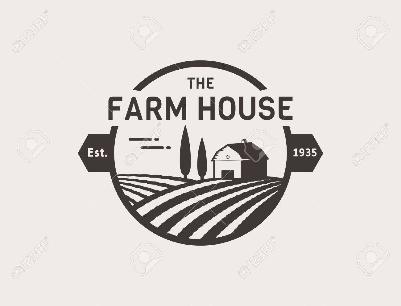 Farm House concept . Template with farm landscape. Label for natural farm products. Black isolated on white background. Vector illustration. - 53554127