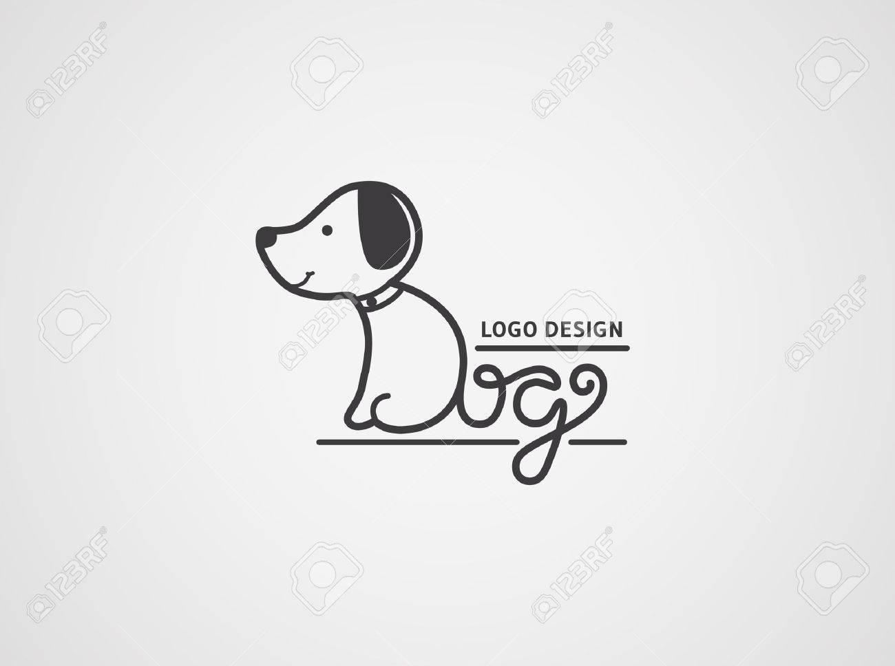 Dog logo template. Cute puppy logotype isolated on white background. The body and tail are made from hand drawn letters Dog. Vector concept design. - 53554172