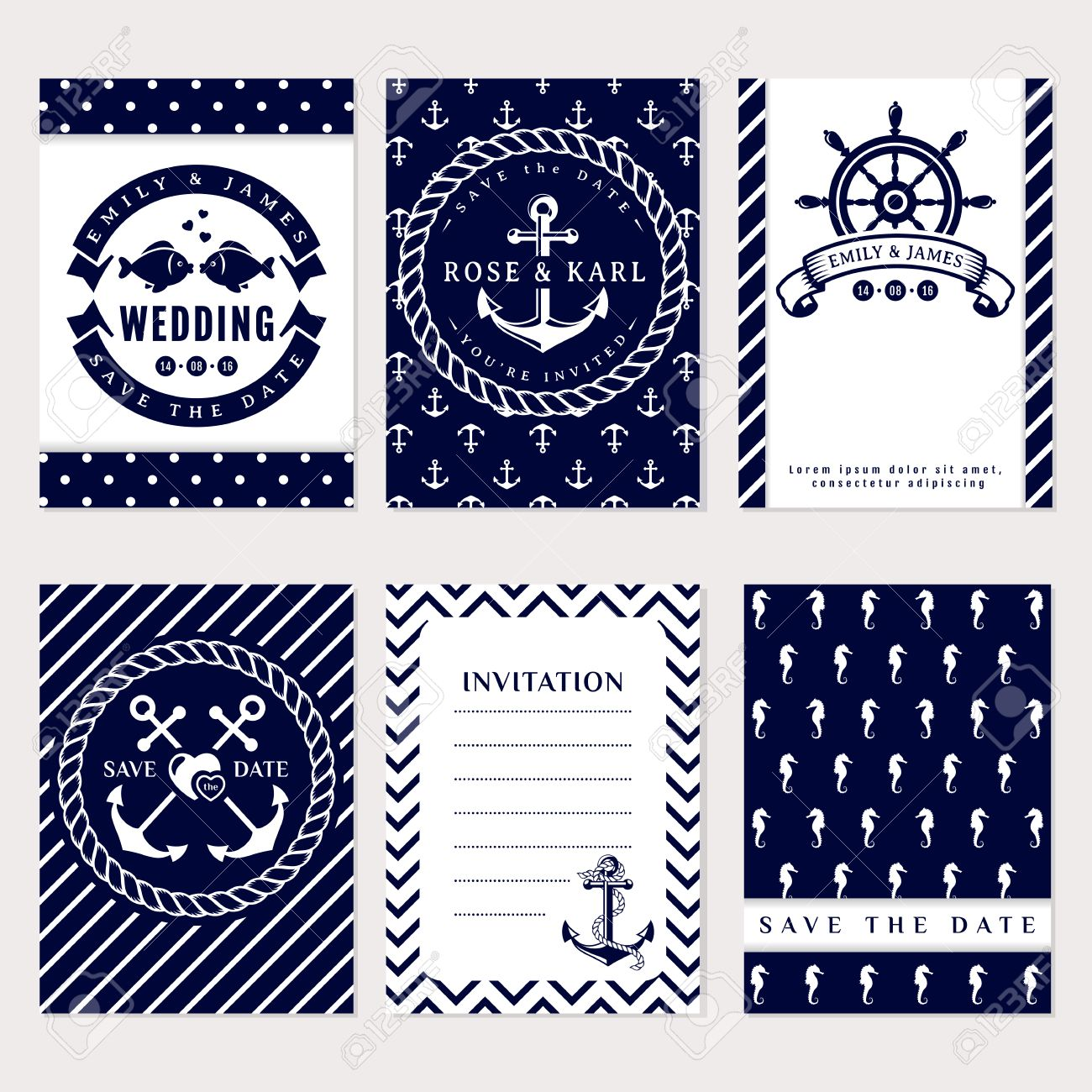 Nautical Wedding Invitation Cards. Sea Theme Wedding Party ...