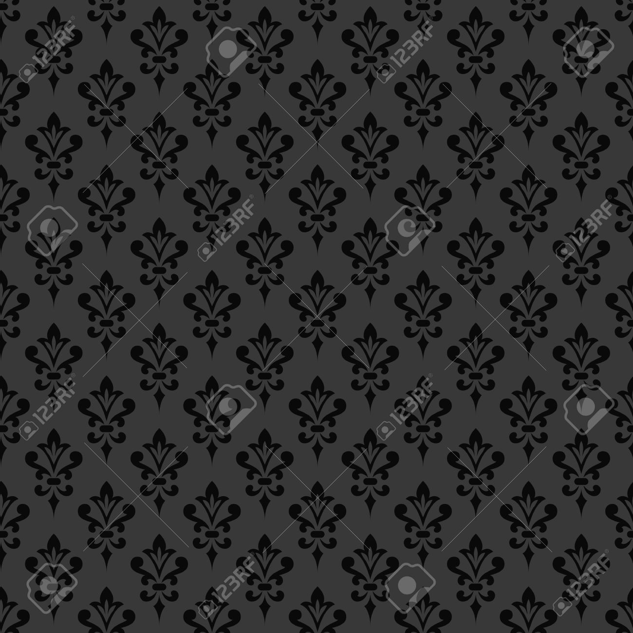 Black Damask Wallpaper Background In Victorian Style Elegant Vintage Ornament Monochrome Colors