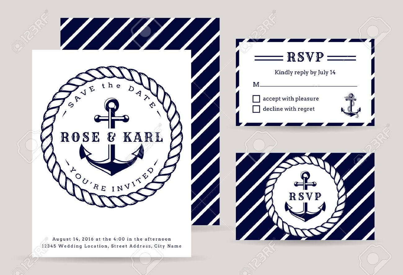 Nautical Wedding Invitation Cards. Sea Theme Wedding Party. Elegant ...