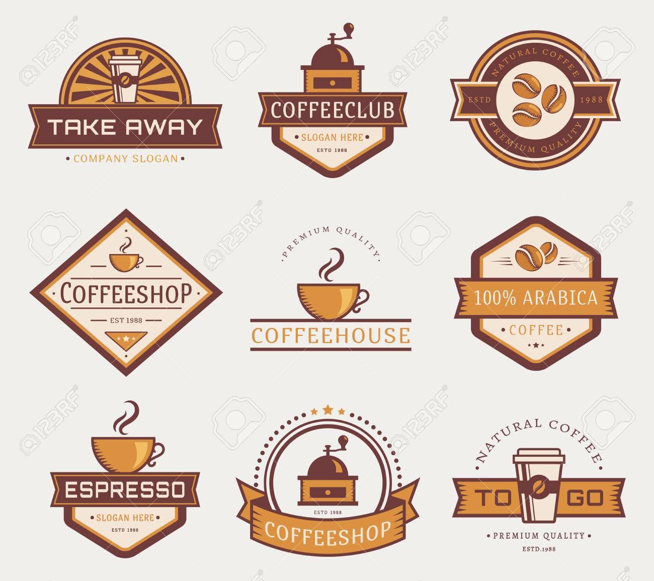 Kaffee-Logo-Vorlagen. Set Von Etiketten Für Coffee-Shop Oder Café ...