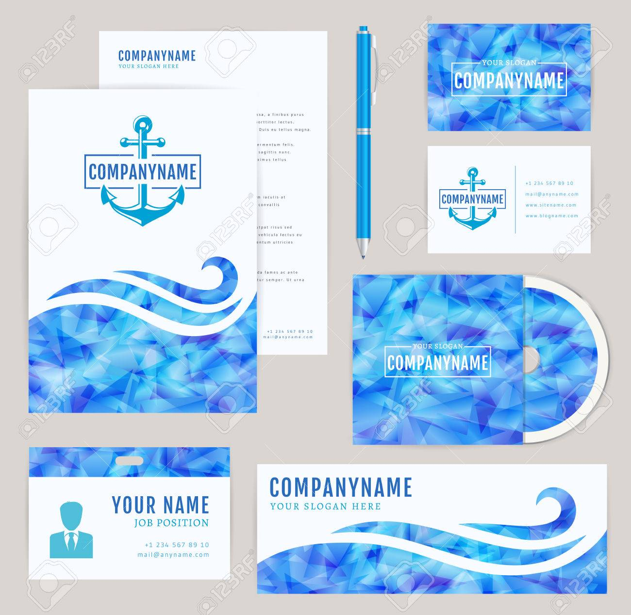 Set Of Corporate Identity Templates With Anchor . Nautical And ...