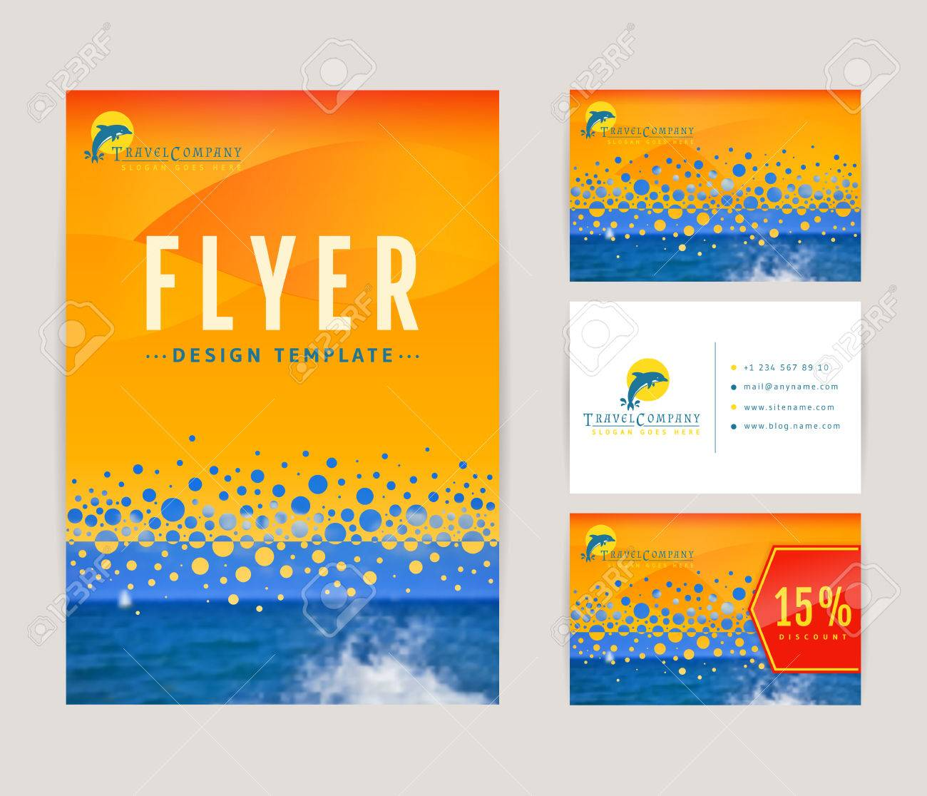 set of corporate identity templates with dolphin travel and sea cruise themes flyer