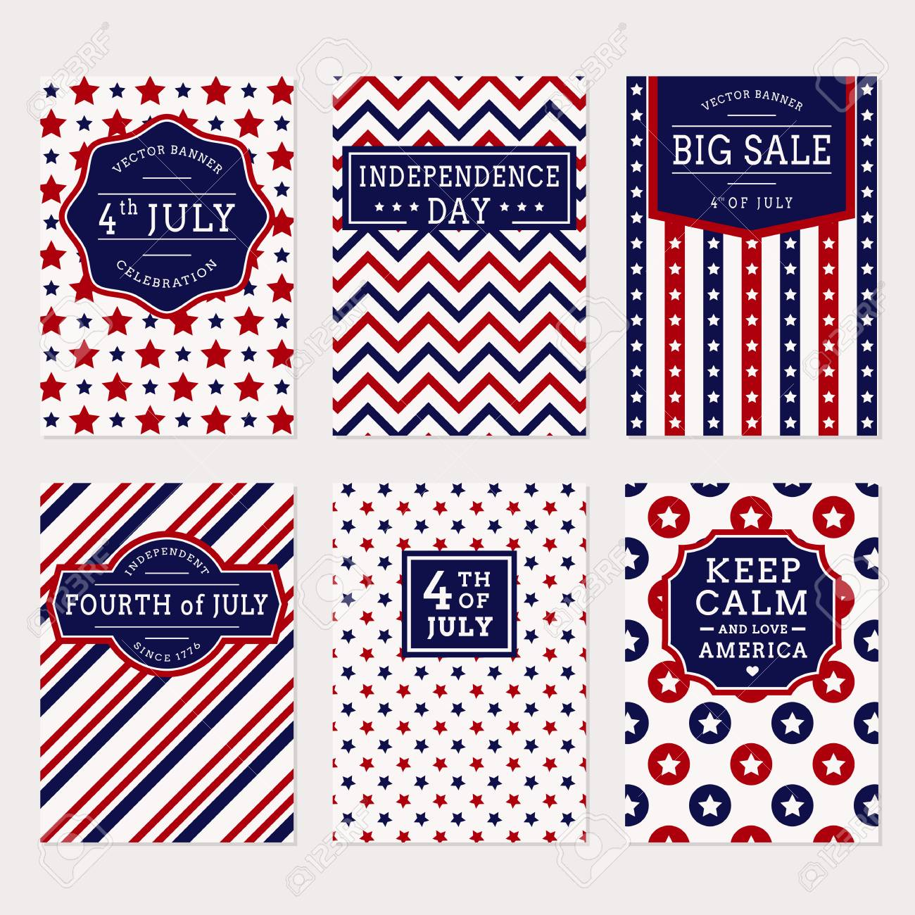 Happy Independence Day Set Of American Banners For 4th Of July