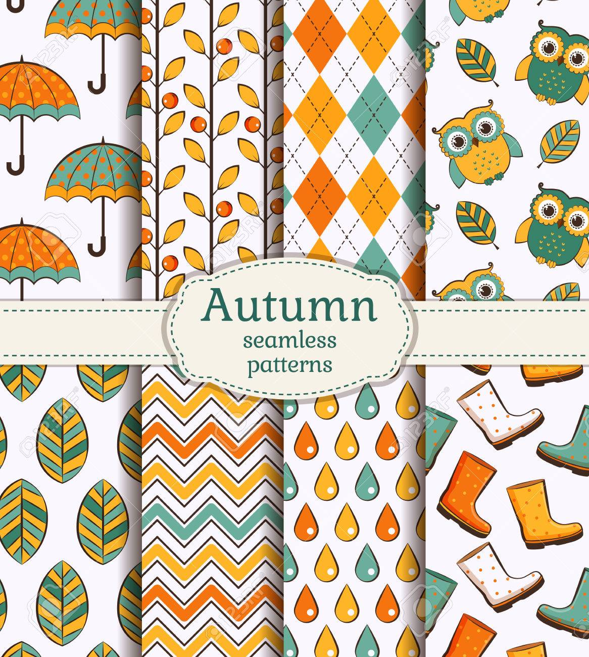 set of autumn backgrounds collection of cute seamless patterns