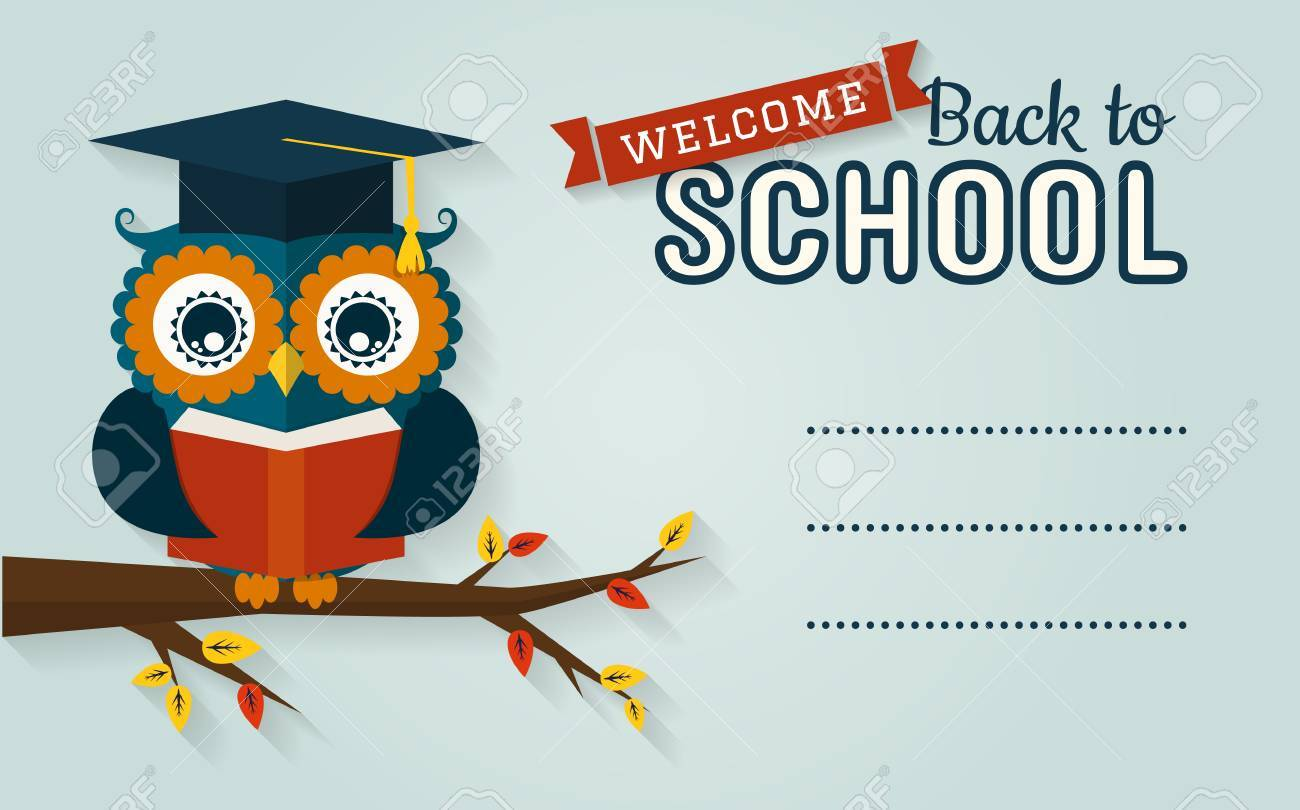 Back To School Vector Card With Place For Text Wise Owl Book And