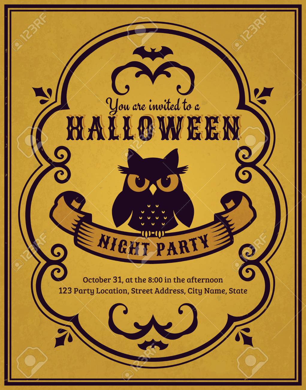 Invitation To Halloween Night Party. Vintage Card With Gloomy ...