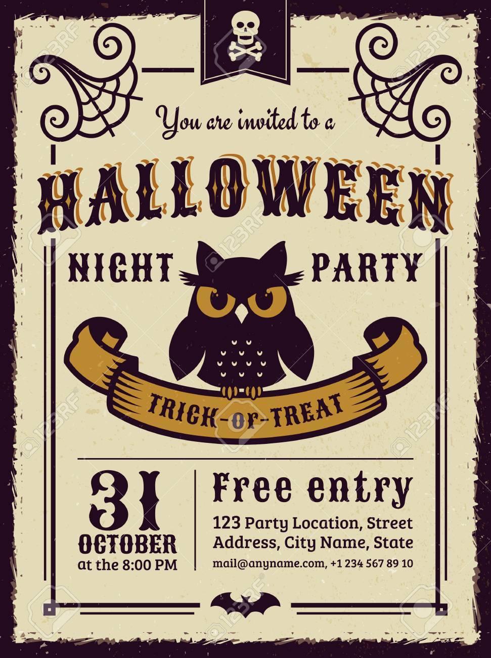 Einladung Zur Halloween-Nacht-Party. Vintage-Karte Mit Düsteren Eule ...