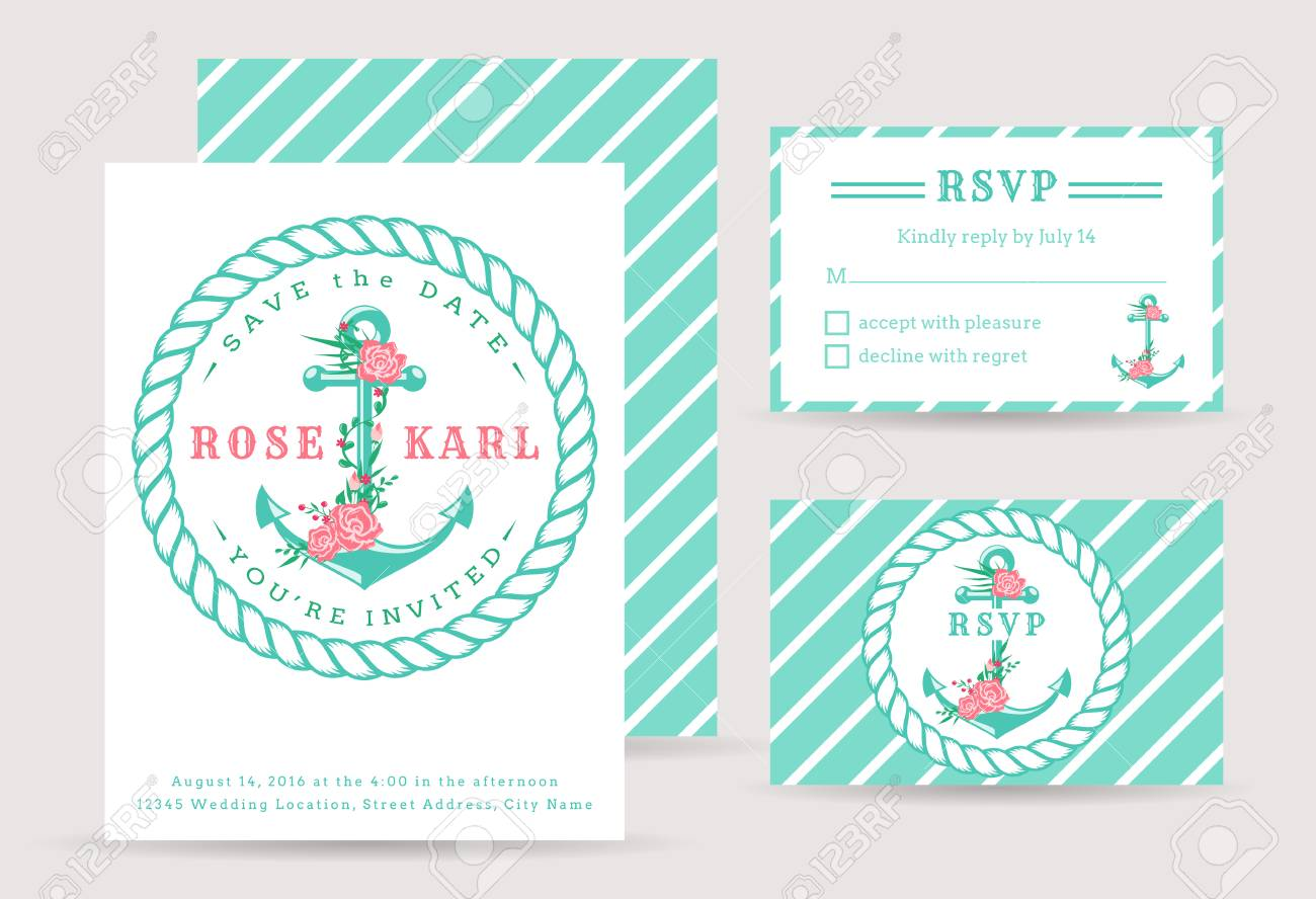 Nautical Wedding Invitations.Nautical Wedding Invitation Cards Sea Theme Wedding Party Cute