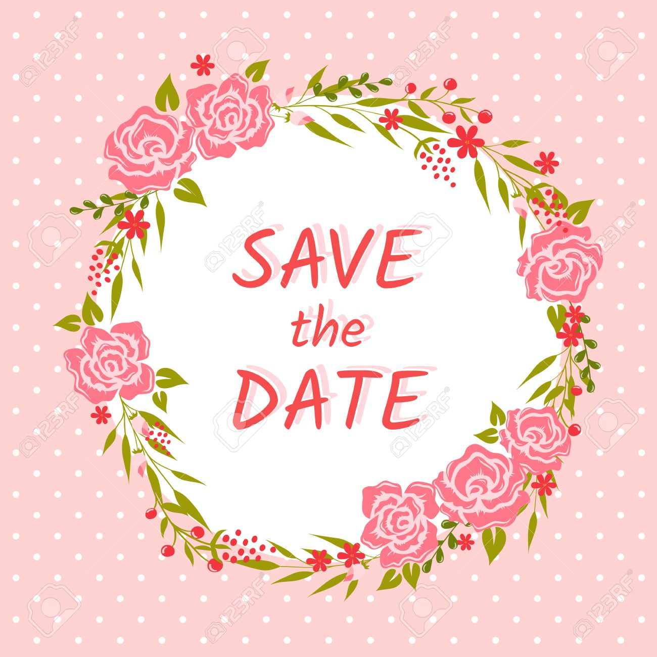 Save the date card cute wedding invitation with floral wreath vector illustration save the date card cute wedding invitation with floral wreath and polka dot background stopboris Images