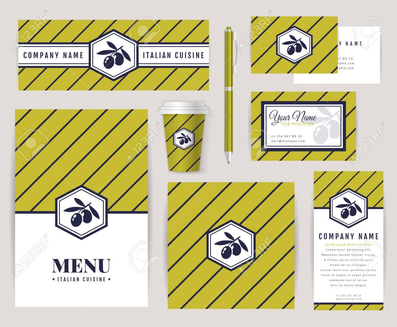 Modele Carte Identite Italienne.Ensemble De Modeles D Identite D Entreprise Avec L Icone D Olive Cuisine Italienne Themes Menu Carte D Identite Bannieres Tasse De Cafe Et De